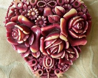 Lovely Floral Celluloid Pin