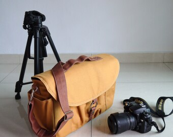 BIG SALE  - 25% - Koi, Almond Brown, Canvas Camera Bag/ Dslr Bag/ Camera Bag/ Camera Messenger Bag/ dslr camera bag/ Women Camera Bag
