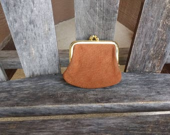 Vintage Princess Gardner Brown Suede Kiss Lock Coin Purse Small Carmel Brown Change Purse