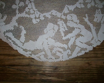 1800s antique figural lace Doily punch work hand done