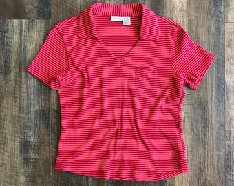 Vintage 90s St. John's Bay Striped V-neck Short Sleeve Crop Top