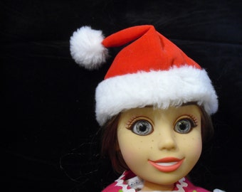 """SANTA  DOll Hat for 18"""" Doll, Red Velveteen with Fur, Free Shipping"""