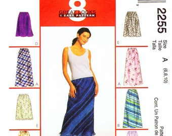Pick A Size - McCall's Skirt Pattern 2255 - Misses' Easy to Make, Pull-On, A-Line Skirt in Eight Looks - Vintage 90's McCall's Patterns