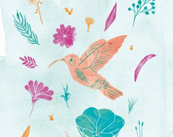Colibri print, Colibri illustration, Flowers print, Bird print
