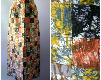 Batik Patchwork Skirt | vintage 60s cotton maxi skirt hippie dress size s/small boho ethnic tie dye top blouses 1960s bohemian tunic hippy