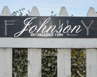 "Established Family Name Signs - 5 1/2"" x 36"""