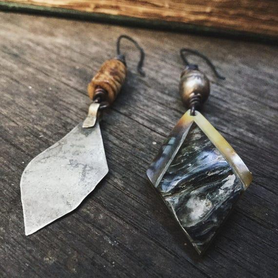 Kuchi and shell asymmetric earrings with bone and Ethiopian beads | assemblage earrings, bohemian artisan, rustic bohemian, boho gypsy