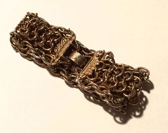 Vintage 1960s Gold Tone Heavy Braided Metallic Bracelet with Clasp/Very Gothic and Luxe, Great Patina