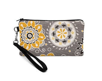 Floral Smartphone Wristlet, iPhone 8 Plus Case, Women's Phone Wallet, Fabric Wrist Clutch, Errand Runner Wristlet - yellow gray floral