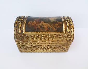 Vintage Jewelry Box, Victorian Box, Florentine Box, Italian Gilded Wooden Box, Gold Gilt Wood, Domed Chest Box, Jewelry Box, Shabby Chic Box