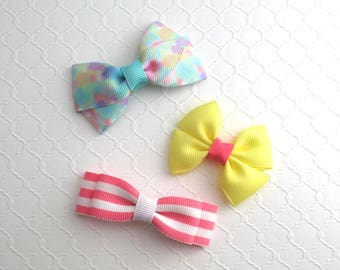 Set of Baby Hair Bows, Toddler Hair Bow Clips, Spring Hair Bows, Summer Hair Clips, Girls Hair Bows, Hair Bow Clippies