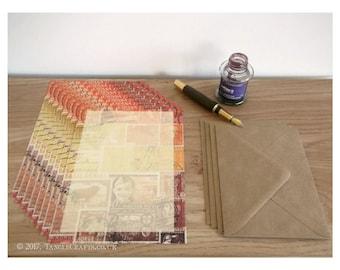 Letter Set, A5 Writing Paper Set | Sunset Orange Brown Postage Stamp Notepaper Set | Abstract Landscape Snail Mail Penpal Letter Writing Set