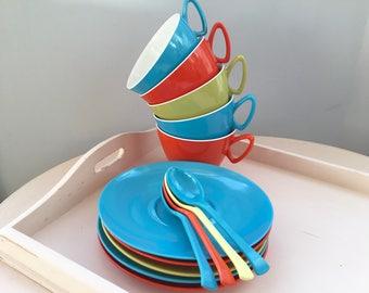 Retro Gaydon Melmex Set - Vintage Harlequin Melamine, 5 x Cups & Saucers, 4 x Spoons, 1960's, Picnic, Camper Van, Gifting, Collectable