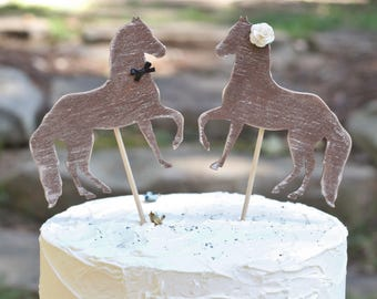 Wedding Cake Topper Horse's Western Cupcake Toppers,  Bride Groom Cake Toppers