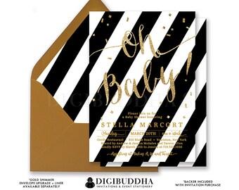BLACK & WHITE STRIPE Oh Baby! Shower Invitation Stripe Gold Glitter Calligraphy Gender Neutral Free Shipping or DiY Printable- Stella