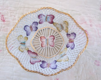 Delicate Porfin Cluj Napoca lace style dish with butterflies made in Romaina