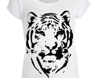 T-shirt: 2 Tiger patterns to choose from-T-shirt for woman trendy 100% customizable
