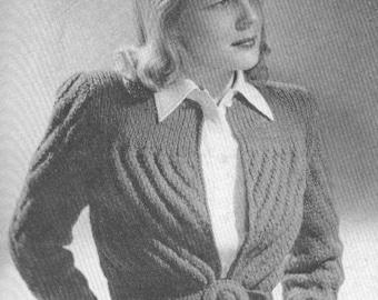 Vintage 1940s Pattern Jacket Jumper Sweater Sports Knitting Pattern PDF 4708 Bust 34 35 36 Size S M Small Medium 40s