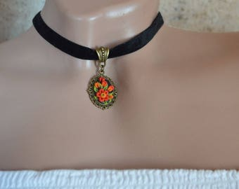 choker red flower pendant charm gift red choker necklace gift for her friend necklace christmas choker red velvet friendship necklace red