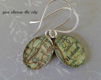 Custom Oval Map Earrings  Sterling Silver Vintage Atlas