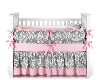 Damask Gray & Baby Pink Crib Bedding Set - by Sofia Bedding
