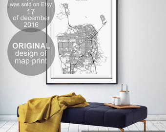 San Francisco Map, San Francisco, San Francisco Print, California Map, US City Map, San Francisco Poster, City Map Print, San Francisco Art