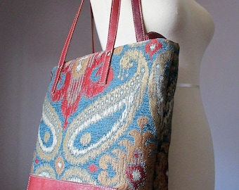 Leather Shoulder Tote Bag, Fabric and Leather, Shopping bag, Shoulder bag, Kilim bag, carry all bag, Handmade by VitalTemptation