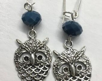 Silver Blue Faceted Owl Earrings, Blue Earrings, Owl Earrings, Silver Earrings, Blue Jewellery, Owl Jewellery, Silver Earrings