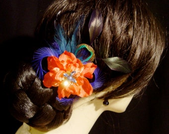 Wild N Free - Red and Blue Silk Flower Peacock Feather Hair Fascinator Comb