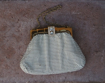 Whiting and Davis ivory enameled mesh bag 1930's