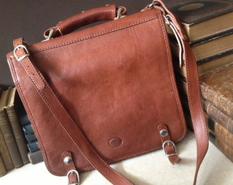 Brown Leather Saddle Bag Made in Italy by Pelletteria Firenze AD Messenger Mini Briefcase