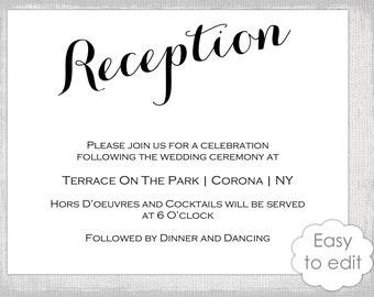 wedding reception card templates