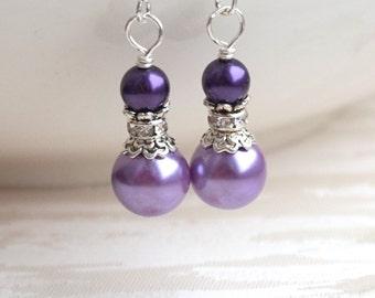 Lavender Pearl Earrings Purple Pearl Earrings Wedding Gift Weddings Jewelry for Bridesmaids Earrings Flower Girl Earrings Bridesmaid Gift