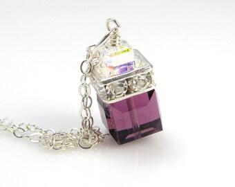 Purple Crystal Necklace, Amethyst Swarovski Cube, Sterling Silver, Swarovski Crystal Pendant Purple Bridesmaid Necklace Plum Wedding Jewelry