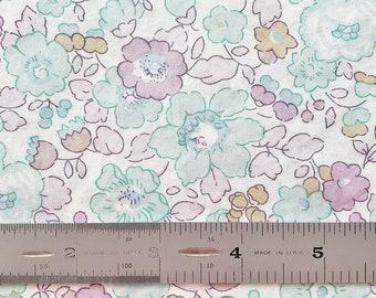 "Liberty Betsy K Tana Lawn 10"" x 10"" Pastel Aqua Blue Purple Fabric Scrap"