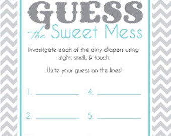 Lovely Baby Shower Game Cards For Guess The Sweet Mess Candy Bar Game! Dirty  Diaper Game