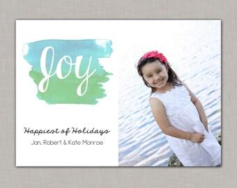 Watercolor Christmas Card, Beach Christmas Card, Christmas Photo Card, Photo Christmas Card