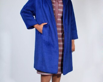 Vintage 50s Elysees Fabrics Golden Scissors Violet Blue Shag Buttonless Swing Coat // Vintage Overcoat (sz 8-14)