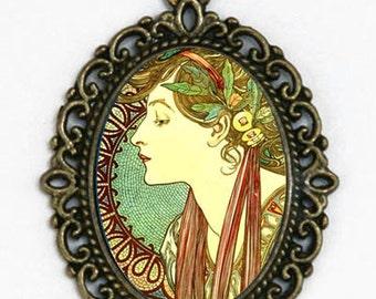 Art Nouveau Goddess  necklace Girl mucha Laurel