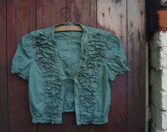 Upcycled PixieTop Hand Dyed Greed Short Sleves RufflesTattered Floral Bohemian