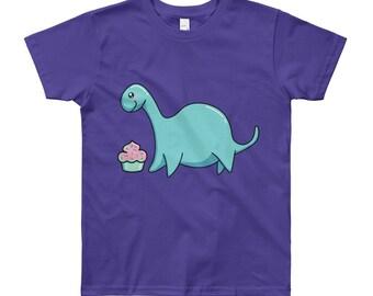 Happiness Cute Kawaii Loch Ness Monster and Cupcake T-Shirt - Top - Tee - happy - cake - nessie - kids