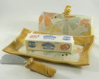 Butter Dish With Lid  Pottery Butter Dish Ceramic Butter Keeper Covered Butter Dish Butter Crock Butter Knife Mother Gift Anniversary Gift