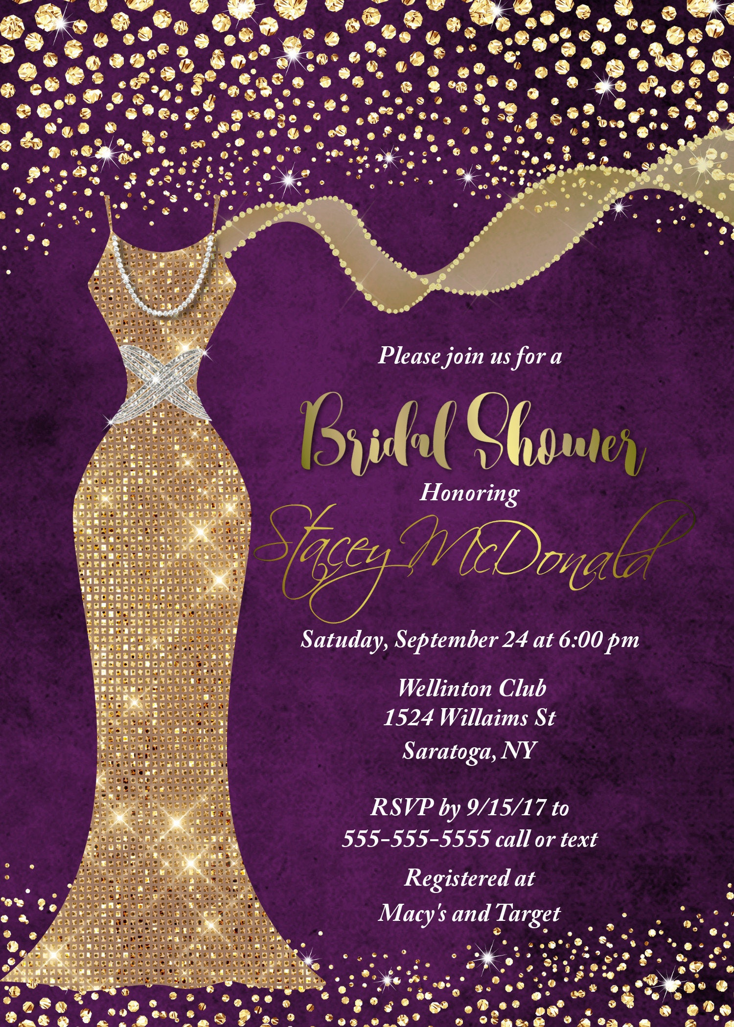 Purple Gold Bridal shower invitation Unique Shower Gold