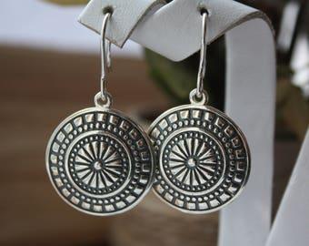 Boho sterling silver earrings, Locket earrings, Medallion earrings, Round sterling silver earrings, Button earrings, Big button earrings
