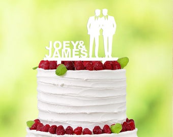 White Gay Caketopper - Gay Wedding - White Gay Wedding - Caketopper Gay White - White Wedding Decor - Name Cake Topper - Gay Cake Topper