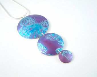 Butterfly Triple Dome anodised aluminium and silver necklace pendant purple blue