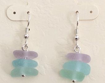Sea glass jewelry- Purple, Sea foam green and Aqua blue Sea glass earrings