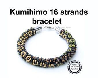 Kumihimo pattern tutorial flower bracelet (neckless)  16 strands