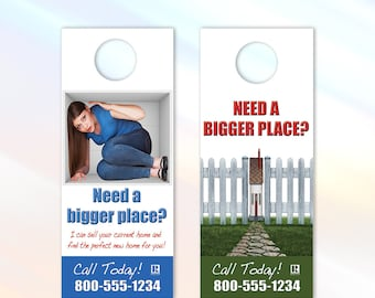 Bigger Space - Real Estate Door Hanger - 3.5x8.5 - Door Handle Real Estate Marketing Flyer - Color Front Only - Customization Available