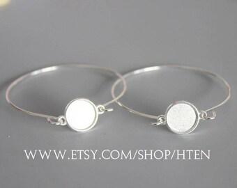 20pcs 12mm Silver bracelet blanks Tray Settings 12MM Bezel Bracelet Blank - Bezel Bracelet Bangle-12mm Bangle Bracelet Base